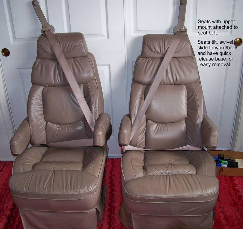 SOLD!!!! Pair of leather seats with seat belts and quick