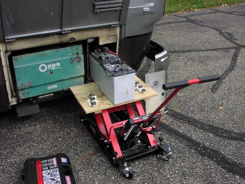 Using a motorcycle jack to check house batteries