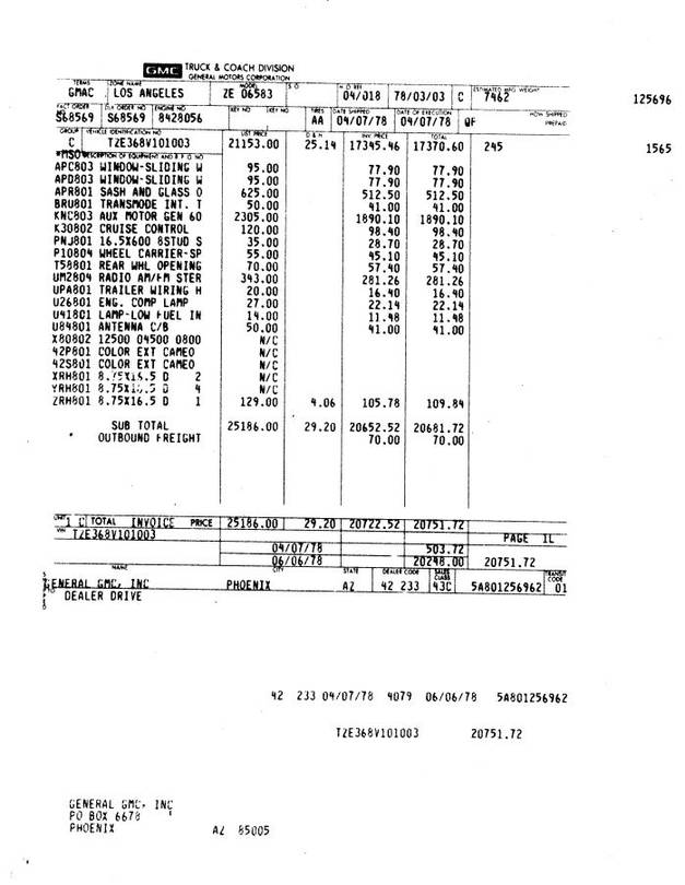 GMC Original Dealer Invoice