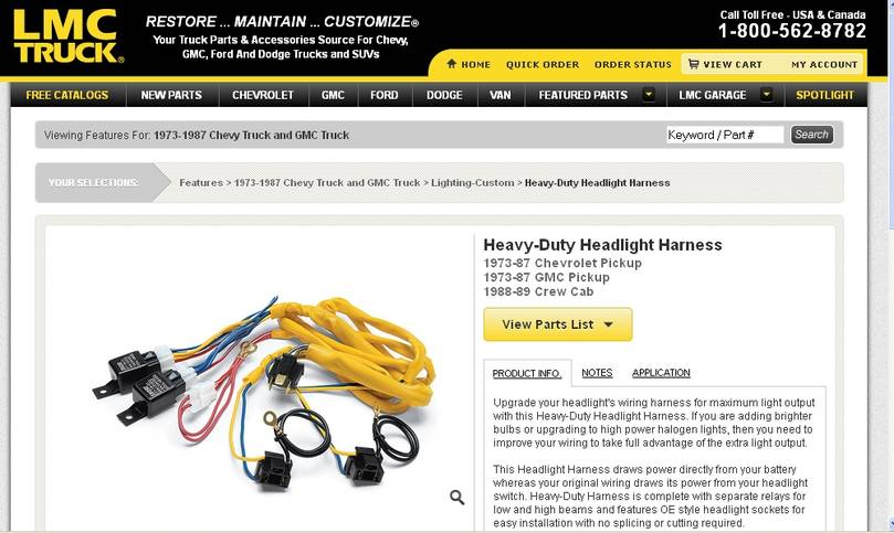 HEADLIGHT HARNESS BY LMC AUTO - on