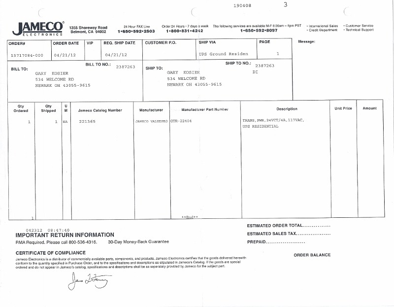 bill of sale from Jameco Electronics