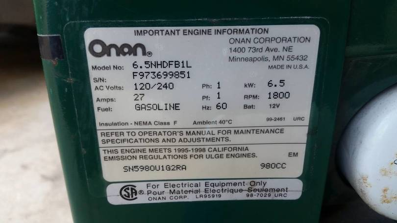 Our Onan Specs